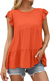 SELILALI Women's Summer Loose Blouse Casual Round Neck Puff Short Sleeve Tops Tunic Tee Shirt