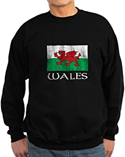 Wales Flag Sweatshirt (Dark) - Classic Crew Neck Sweatshirt