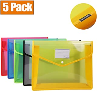 Ymeibe Expandable Plastic File Folders Wallet Upgraded Reinforced Office Clear Document Poly Envelopes with Label Pocket & Snap Button for School Home Work Flies Organization 5 Pack