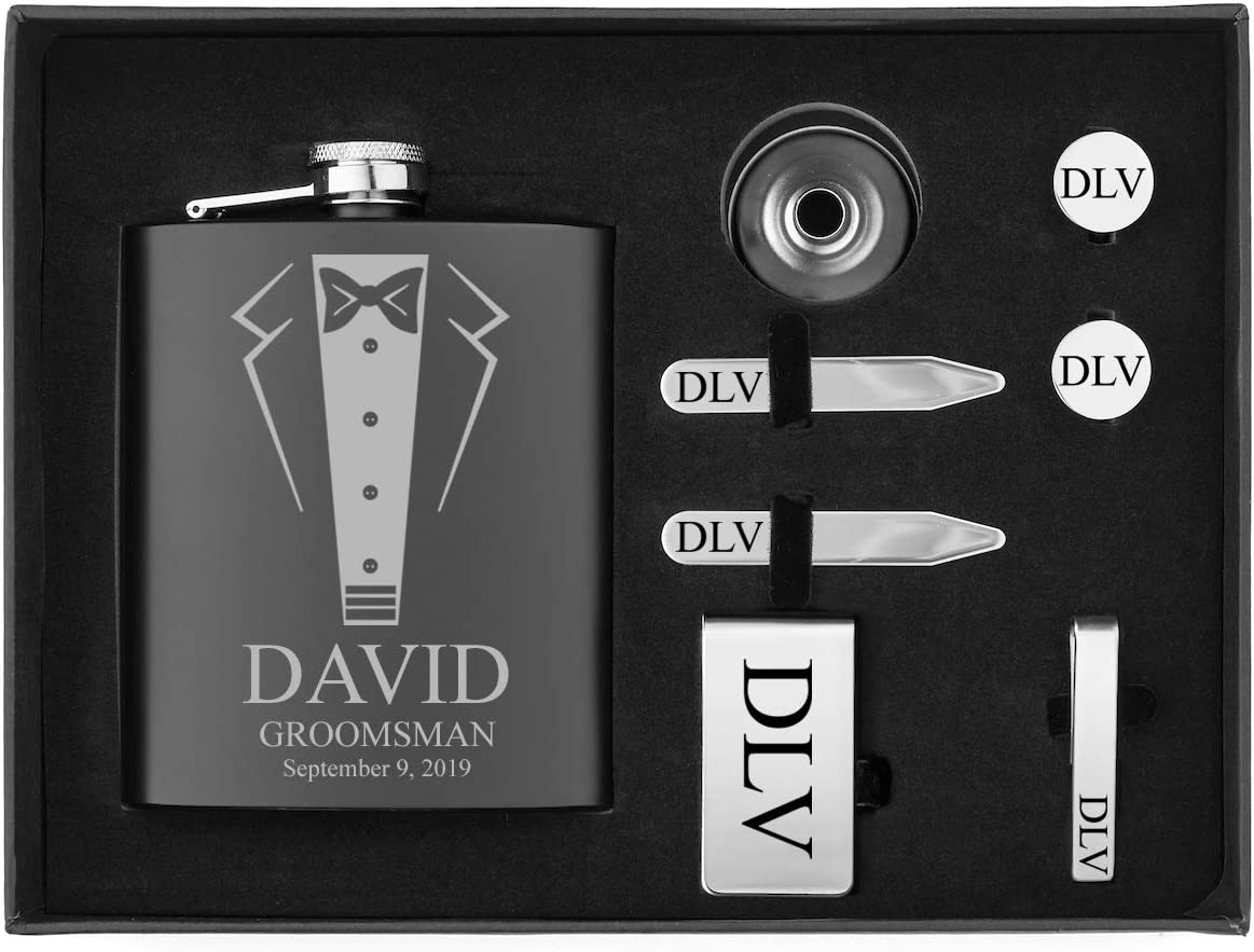 Engraved 7oz Flask, Funnel, Money Clip, Tie Bar Clip, Round Cuff Links, Collar Stays Set Gift Box Set Wedding Tuxedo Personalized