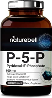 NatureBell P5P as Pyridoxal 5 Phosphate 100mg, 180 Capsules, Activated Vitamin B6, Powerfully Support Metabolism, Nervous System and Brain Health, No GMOs and Made in USA.