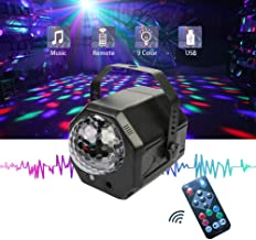 Party Lights Sound Activated,Build in Multi Patterns Crystal Magic Rotating Disco Light,Disco Ball Lamps,10W LED Stage Lighting for KTV,X'Mas Party,Wedding Show,Club Pub DJ Lighting (Black)