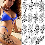 15 pieces of sketched flower sexy tattoo stickers sketched flower fake tattoos stickers rose flower black and white temporary tattoos stickers (3.54×7.48 inches)
