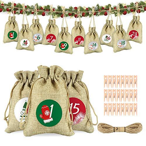 Adventskalender zum Befüllen, Weihnachtskalender Jutesack Adventskalender Säck Geschenksäckchen Weihnachten Stoffbeutel Bastel 24 Stück Jutebeutel mit Kordelzug 1-24 Weihnachtsaufkleber
