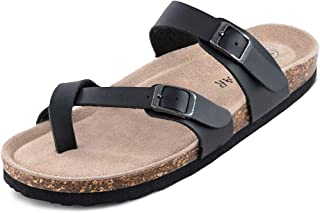 Adjustable Mayari Flat Leather Casual Sandals for Women & Ladies, Youth Suede Slide Cork Footbed for Teenagers/Girls
