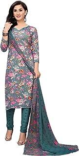 TreegoArt Fashion Women Crepe Printed Unstitched Churidaar Dress Material -(Free Size) Sky Blue