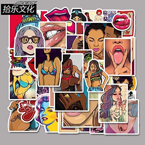 ZAQQ 50 Nicht Wiederholte Rock Porno Cartoon Aufkleber Graffiti Aufkleber Koffer Skateboard Aufkleber