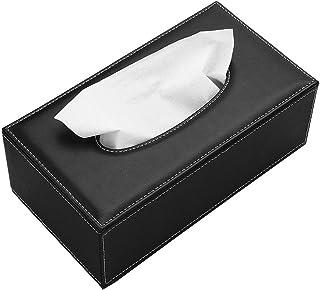 BTSKY - Caja de Pañuelos de Poliuretano y Cuero, Forma Rectangular, Ideal para Oficina