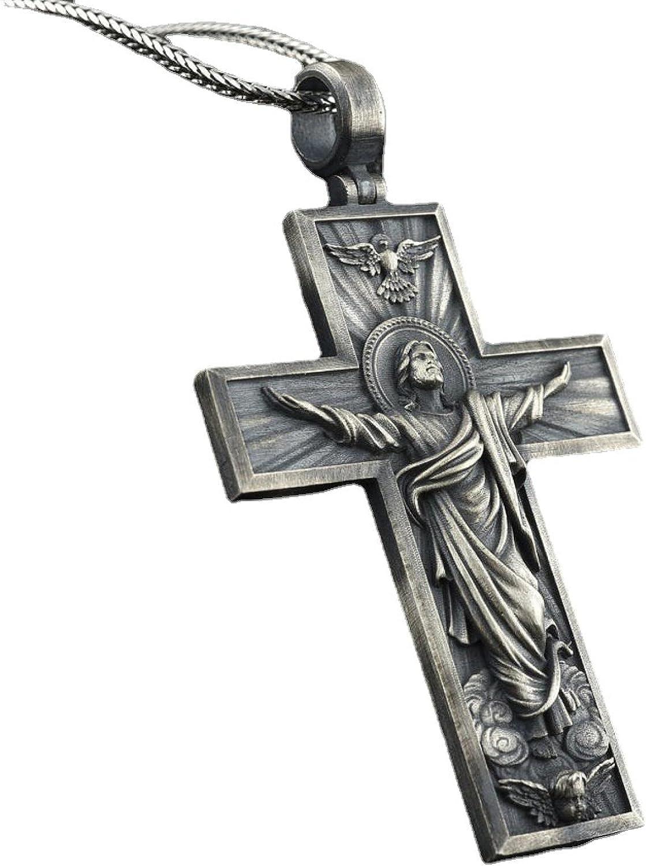 Cross Jesus Style Retro Pendant Collar Chain Necklace For Men Women Friends Jewelry