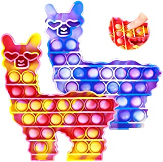 2 Pack Alpaca Special Needs Stress Relief Anti-Anxiety and Reliever Autism Silicone Squeeze Llama Toy Tools for Kids and Adults WHATOOK Push Bubble Fidget Sensory Toy