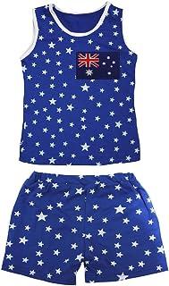 Petitebella Girls' Australia Flag Patriotic Stars Cotton Shirt Short Set