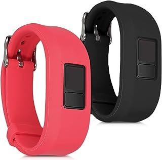 kwmobile 2X Pulsera Compatible con Garmin Vivofit 3 - Brazalete de Silicona Rojo/Negro sin Fitness Tracker