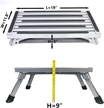 Aluminum Folding RV Step Ladder, Working Platform, One Step Ladder, Anti-Slip Rubber Feet and Sandy Surface, Suitable for RV,