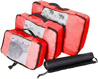 Waterproof Travel Storage Bags Luggage Organizer Pouch Packing Cube Clothing Sorting Packages Pack of 4pcs Red