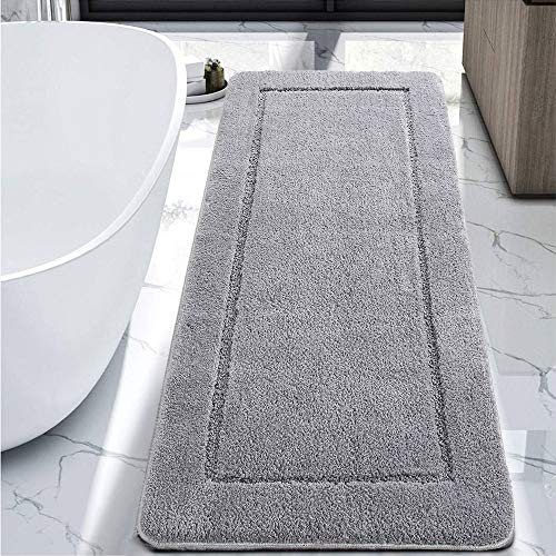 LOCHAS Luminous Non Slip Bathroom Rugs Runner 24 x 60 Inch, Extra Soft and Comfy Bath Mats Rug, Absorbent Thick Microfiber Mat Carpets for Bathroom Shower, Light Gray