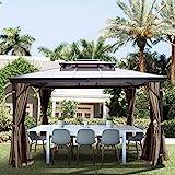 VEVOR Gazebo Solar de Terraza de Acero 3 m x 3 m con Mosquitera, 6-8 Personas Marrón, Gazebo Pabellón Exterior para Jardín, Cenador con Estructura del Aluminioal Aire Libre Impermeable