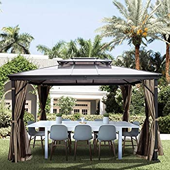 Happybuy Polycarbonate Hardtop Roof Gazebo 10  x 10  with Netting - Metal Gazebo Aluminum Permanent Double Tier Roof- Gazebos for Patios Backyard Outdoor and Lawn