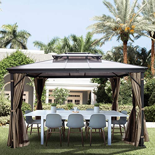 Happybuy Hardtop Gazebo 10' x 10' with Netting - Metal Gazebo Aluminum Permanent Double Tier Roof- Gazebos for Patios, Backyard, Outdoor and Lawn