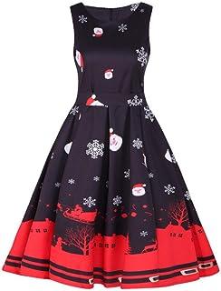SHOBDW Vestido de Navidad, Las Mujeres de Santa Navidad Fiesta Vestido de Navidad Vintage Swing Skater Vestido (S-4XL)
