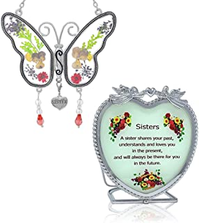 BANBERRY DESIGNS Sister Gift Set - Butterfly Suncatcher with Pressed Flower Wings & Candleholder - Gifts for Sisters