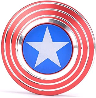Fidget Spinner Captain America, Smooth Custom Round Shaped Hand Spinner with Ceramic Bearing, Metal and Durable. Stress Reducer Toy & Perfect for ADHD, ADD, Anxiety (Red Silver Blue)