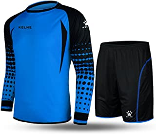 KELME Padded Goalkeeper Uniform, Men Soccer Goalie Shirts and Shorts, Youth Keeper Long Sleeve Jersey with Pants Set Bundle