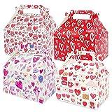 12 Cajas de Regalo para el Día de San Valentín, Cajas Pequeñas para Regalos, Cajas Recicladas para Regalos de Fiesta, Caja de Cartón con Estampado de Corazón para Dulces, Galletas y Regalos de Fiesta