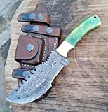 Ottoza Handmade Damascus Tracker Knife with Green Bone Handle - Survival Knife - Camping Knife -...