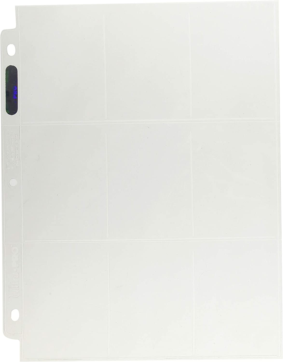 Ultra Pro 9-Pocket Trading Card Pages - Platinum 100 count Box, Clear.