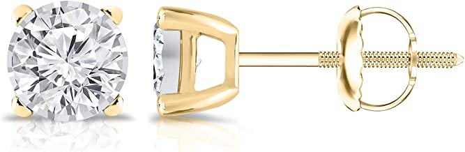 14K Gold Round Lab Grown Diamond Stud Earrings (0.15-0.25cttw, G-H, VS2-SI1) 4-Prong Basket, Screw-backs by Diamond Wish