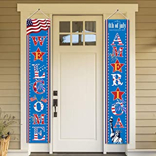 Fourth of July Patriotic Decorations - Porch Sign Set Independence Day Red White Blue Welcome Door Décor Party Favors Supplies For Indoor Outdoor