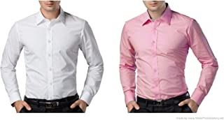 ZAKOD Combo of Plain Men's Cotton Shirts for Formal Wear,Slim Fit Shirts,100% Pure Cotton Shirts,Available Sizes M=38,L=40,XL=42(Pack of 2)