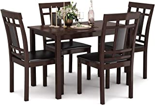Giantex 5 Piece Dining Table Set with 4 Chairs Home Dining Room and Kitchen Furniture for 4 Person Wood Chairs with Padded Seat (Brown)