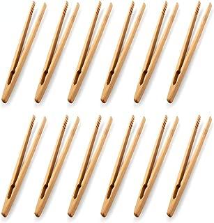 Lot de 12 pinces en bambou pour toast - Pinces de cuisine en bambou - Ustensile de cuisine - Sucre - Salade en bambou - Pi...