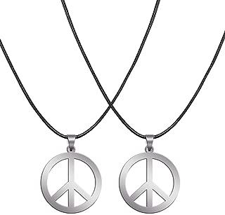 Sunshane 2 Stück Hippie Style Friedenszeichen Halskette Hippie Party Dressing Zubehör, Silber