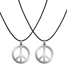 Sunshane 2 Pack Hippie Style Peace Sign Necklace Hippie Party Dressing Accessories, Silver
