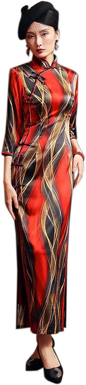 Qipao Dresses Silk Printed Slim Fashion Red Cheongsams Daily Party 3267 M