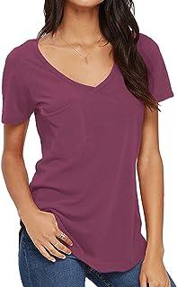 VIISHOW Womens Casual Curved Hem Short Sleeve T Shirt V Neck Patch Pocket Tee Blouse