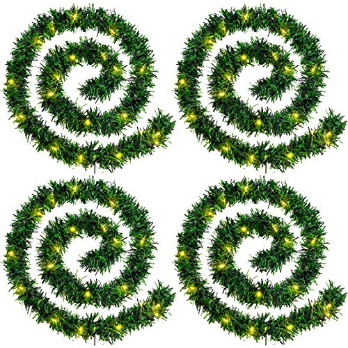 WILLBOND 4 Strands Christmas Garlands 72 Feet Artificial Pine Garland Soft Greenery Wreaths with 160 Warm LED Lights for Christmas Indoor Outdoor Decoration