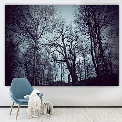 Tapiz de bosque oscuro tapices de paisaje natural tapiz de pared 58 * 79 pulgadas noche mística negro granja bosque paisaje atardecer tapiz para sala de estar dormitorio
