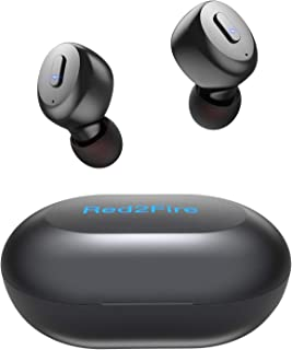 True Wireless Earbuds with Immersive Sound, Red2Fire in-Ear Stereo Bluetooth Earbuds with Charging Case, Auto Pairing/30H Playtime/Deep Bass/Built-in Mic Earphones for Sports,Workout,Gym (Black)