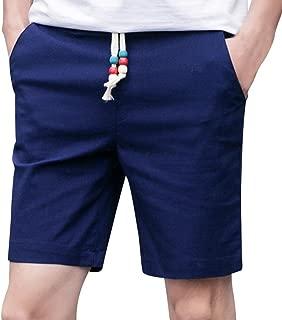 PASATO Men Summer Linen Cotton Solid Beach Casual Elastic Waist Classic Fit Shorts
