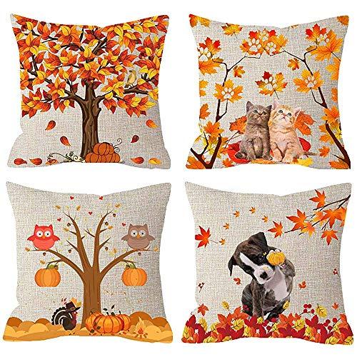 Mesllings Juego de 4 almohadas decorativas cuadradas con diseño de búhos y calabazas con texto 'Happy Fall Yall', para dar las gracias, perro, gato, búhos, pavo, cosecha de calabazas, hojas y arpillera, 18 x 18 pulgadas