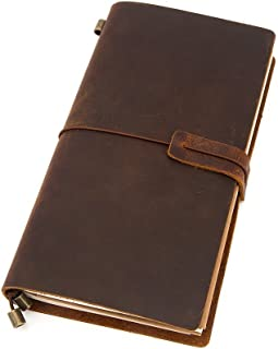 Leather Journal, Handmade Vintage Leather Notebook Refillable, Antique Soft Leather, Gift for Men & Women, Perfect to Write in, Travelers Notebook, Small Leather Notebook, 8.7 × 4.7 Inches, Brown