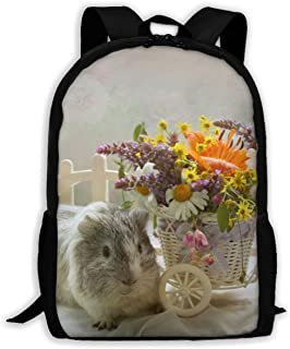 KIENGG Guinea Pigs Bouquets Wicker Basket Unisex Adult Unique Backpack,School Casual Sports Book Bags,Durable Oxford Outdoor College Laptop Computer Shoulder Bags,Lightweight Travel Daypacks