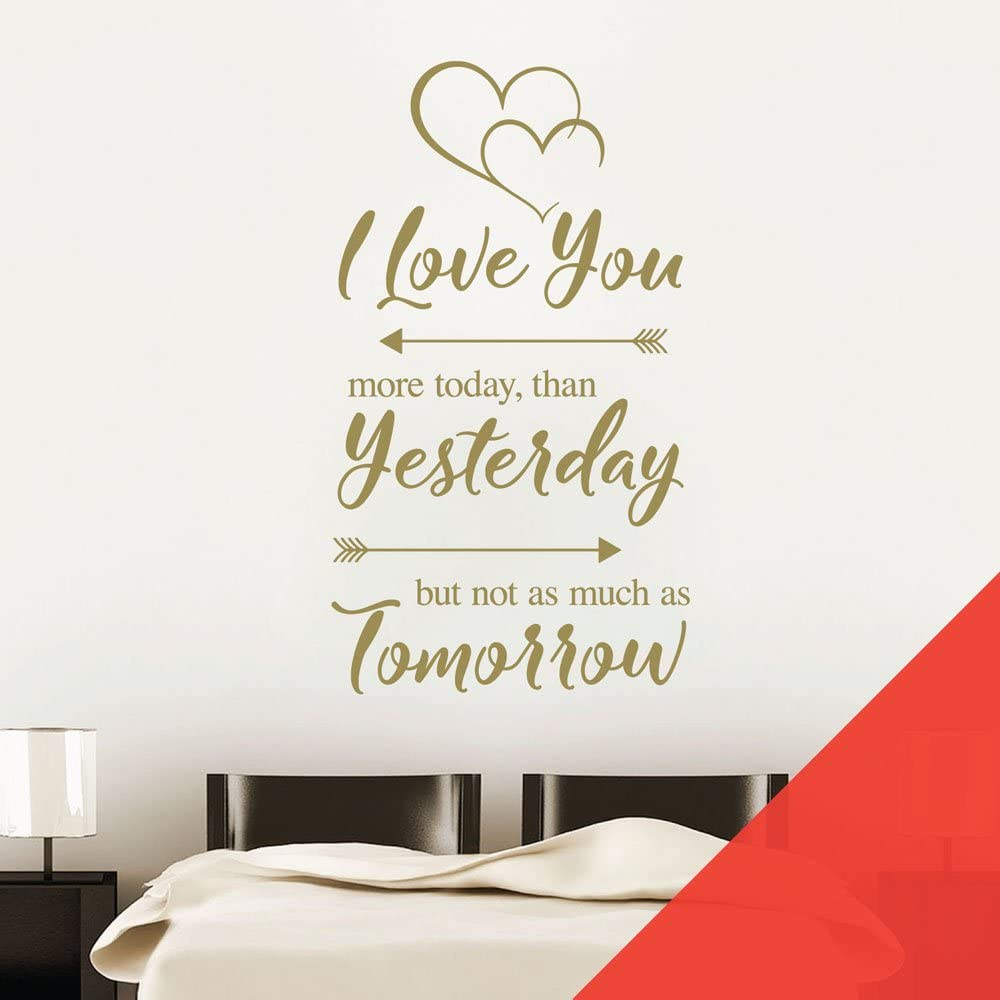 Amazon Com I Love You More Today Than Yesterday But Not As Much As Tomorrow Wall Art Sticker Love Quote Light Grey Furniture Decor