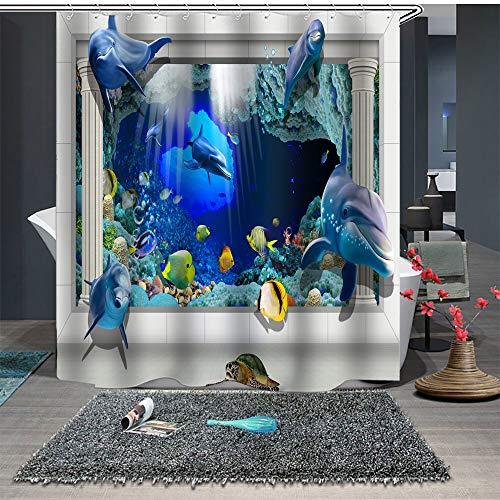 Chickwin Duschvorhang Anti-Schimmel und Wasserdicht, 3D Ozean Blau Delphin Duschvorhang mit 12 Duschvorhangringe für Badezimmer (180x200cm,Tiefsee-Palast)
