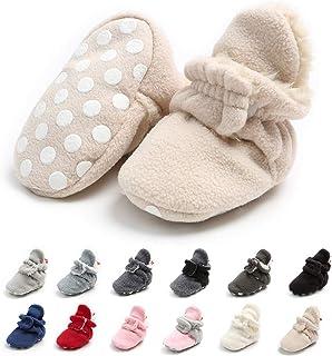 Meckior 新生儿女婴男童保暖羊毛冬靴*步行者拖鞋 E-beige With Hook&loop 6-12 Months Infant