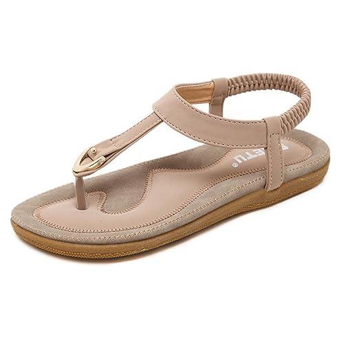dd7be00e19c84f HARRYSTORE Womens T-Strap Sandals Flat Bohemia Style Roman Clip Toe Flip  Flop Casual Summer