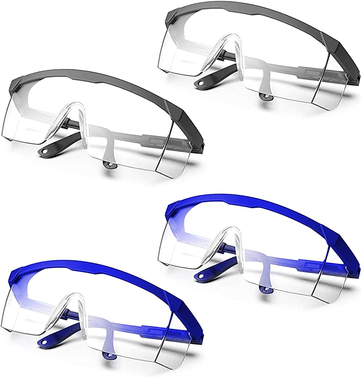 Qixuer 4 Piezas Gafas de Protección,Gafas de Seguridad Plegable Gafas Protectoras Ojos a Prueba de VientoTransparentes de Trabajo Gafas a Prueba de Polvo para Laboratorio Agricultura Industria
